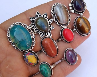 Agate /& Mix Gemstone Wholesale Lot 50pcs 925 Silver Plated Handmade Rings