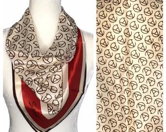 Salderini designer 1970/'s vintage brown multi coloured Edwardian ladies square silk headscarf