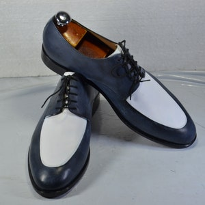 Men's 1950s Shoes Styles- Classics to Saddles to Rockabilly     Handmade Men Shoes Blue & White Genuine Leather Formal Dress Shoes For Mens $132.00 AT vintagedancer.com