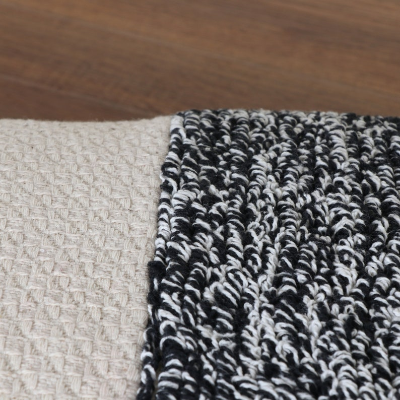 Black and Off White Mixed Tufted Texture Boho Throw Pillow Cover Size 20x20 Inches