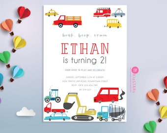 Transportation Birthday Invitation, Truck Birthday Invitation, Cars Birthday Invite, Truck and Cars Birthday