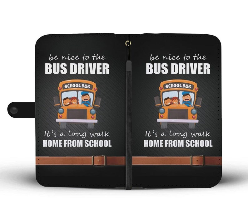 Bus Driver Wallet Phone Case Custom Personalized Protective Cell Phone Book Cover for iPhone Samsung LG Google Huawei OnePlus