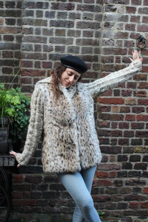 Mixed Wool and Fake Fur Leopard Animal Print Vinta