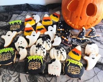 Halloween cookie set, spooky cookies, hand painted vanilla cookies, royal icing cookie gift set, edible art, Halloween gift set, custom made
