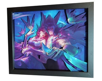 "League of Legends: Xayah and Rakan | Shadow Box (8"" x 10"" | 6 Layers)"