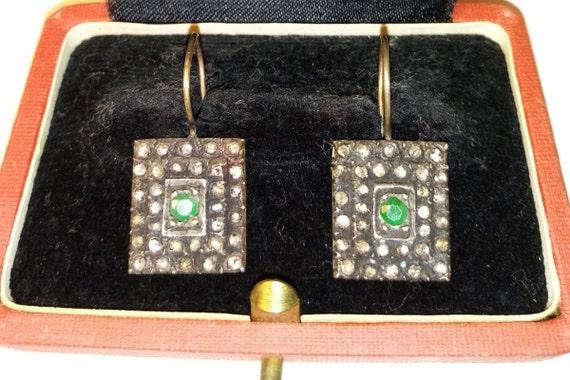 Antique Emerald-Diamond Earrings