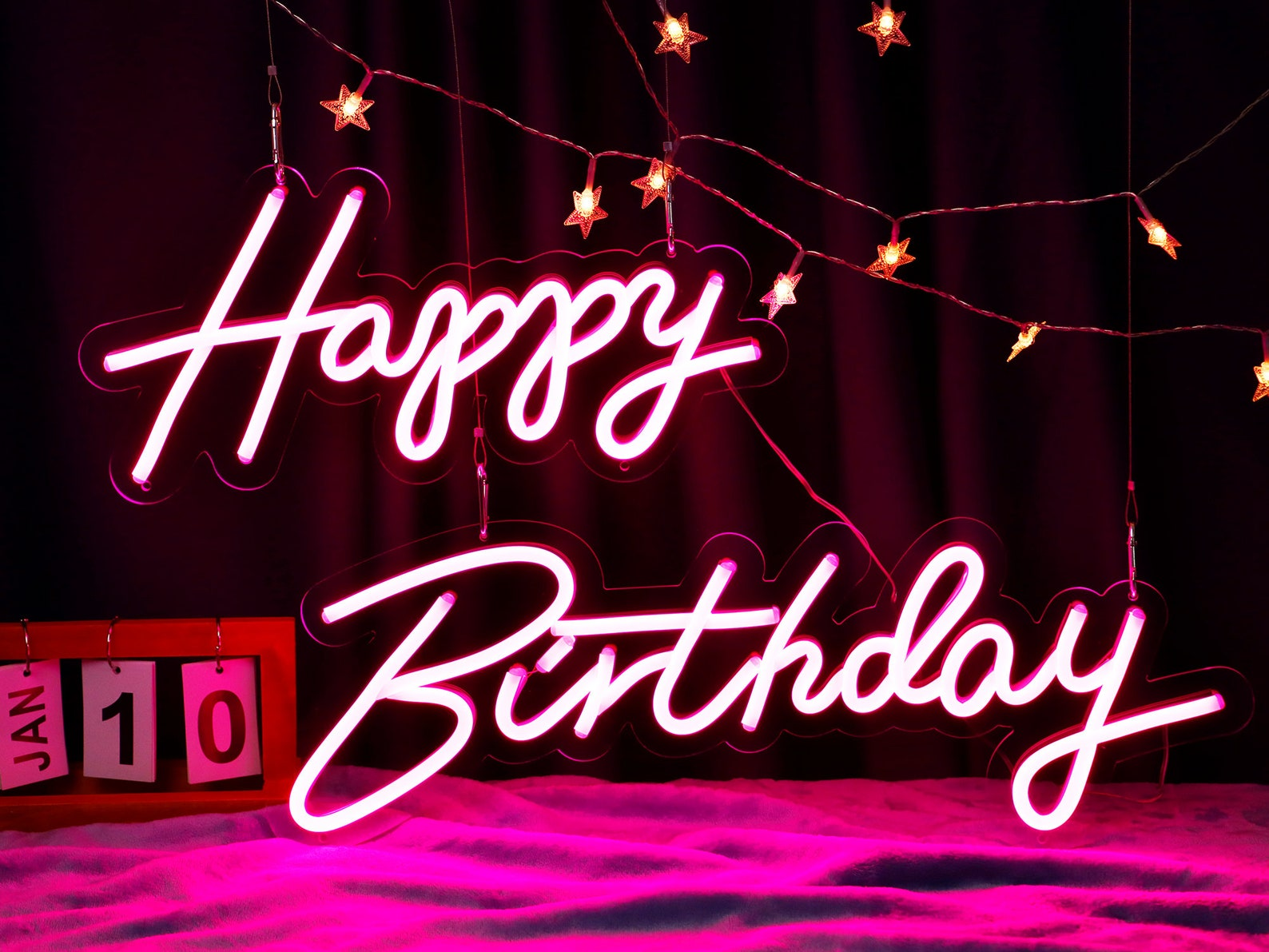 Pink Neon Happy Birthday Signs