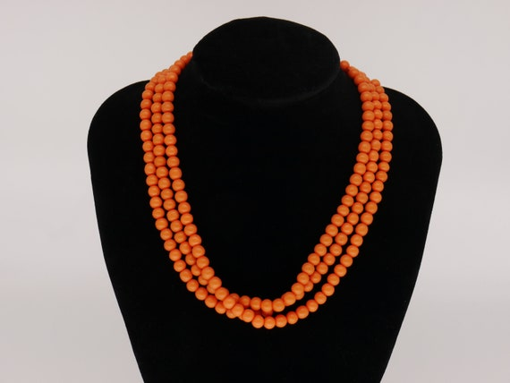 Antique Art Deco Brass Filligree Coral Celluloid Bead Flapper Necklace