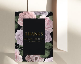 Thank you Note Napkin Printable 5x7  IN019 Blush Pink Thank You Card INSTANT DOWNLOAD Welcome Note Blush Pink Templett Floral