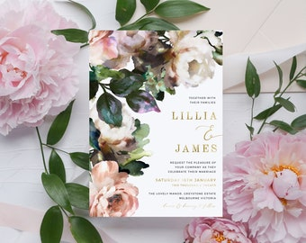 Blush Roses Floral Wedding Invitation Set INSTANT DOWNLOAD Real Gold Foil Leaves IN014 Printed Wedding Invite Editable Templett Printable