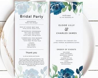 Editable Order of Events Templett Printable Program Program Fan Eucalyptus Wedding Program INSTANT DOWNLOAD DIY Ceremony IN038