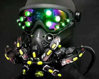 Cyberpunk mask Cyberpunk 2077 mask Goggles + gas mask Led mask Halloween Costume P Movie propsrop