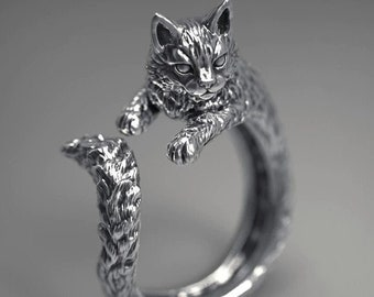 Exclusive design Eco-friendly silver Little Cat ~ Sterling Silver Statement  stacking ring /'Forest Friends/' series Crazy cat lady ring!
