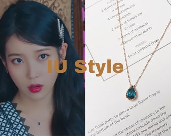 925 Sterling Silver Water Drop Crystal Necklace Hotel Del Luna IU Style Necklace Rose Gold Necklace   Korean Style Accessories