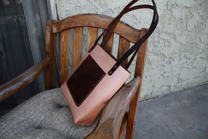 Two-hued leather tote medium