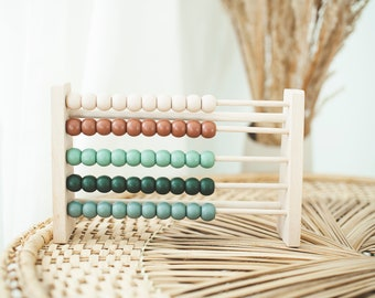 Boho Wooden Abacus Counting Toy | Montessori Toy | Wooden Toy Decor | Nursery Decor | Boho Rainbow | Educational Kids Gift | Wooden Toy