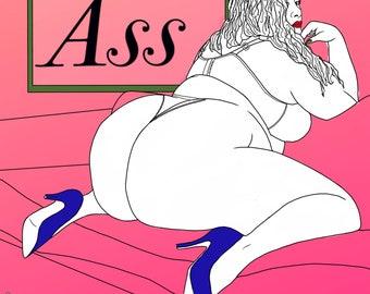Derrière digital book  Erotic art print, ass line art, butt digital download, Sex Positive Bedroom decor, Adult coloring
