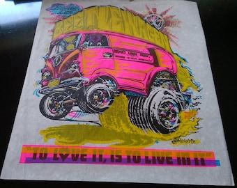 "Roach  Vintage  Rare ""BEETLEWAGEN Volkswagen Van  "" Iron-On Transfer  Full Color Original  Grass is out Specialty!"