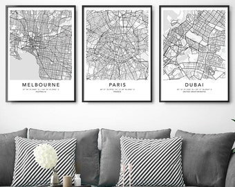 Personalized Set of 3 Any City Map Prints Custom Locations Home Town Print Canvas with Frame First Anniversary Gift Digital Printed