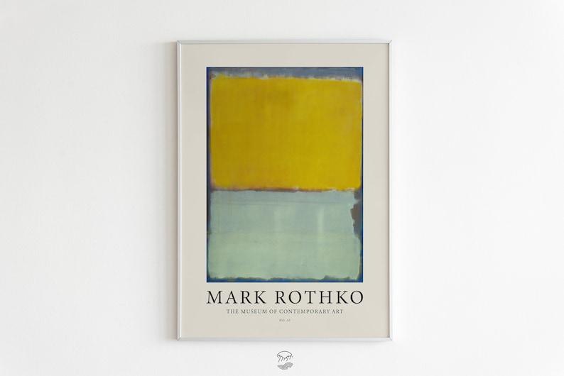 Mark Rothko Print Exhibition Printable Poster Green Blue image 0