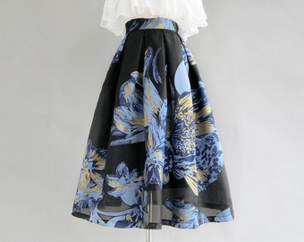 Custom LengthSize Available Black Embroidered Cherry Wool Blend Box Pleat Midi Skirt with Pockets