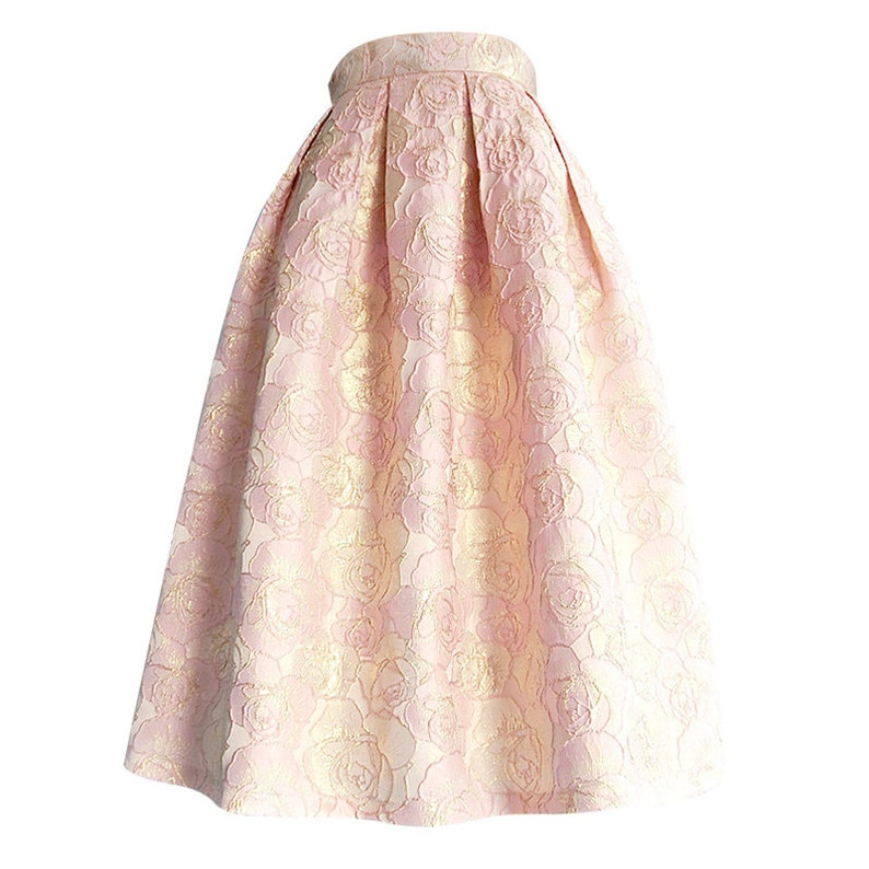 Custom LengthSize Available Pink /& Gold Rose Jacquard Box Pleat Midi Skirt with Pockets