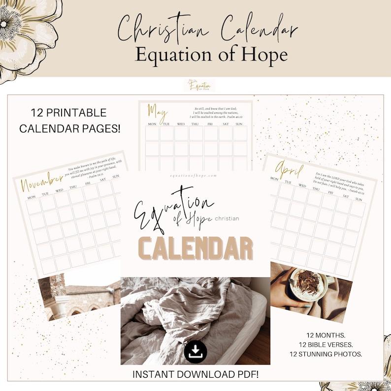 Printable Christian Calendar  Equation of Hope  Undated image 0