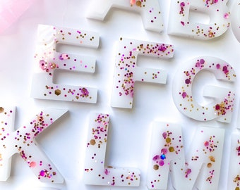 Pink and Gold glitter resin letters