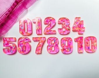 Neon pink candy numbers