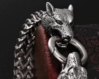 Wolf men's bracelet,Viking Bracelet,Stainless Steel ,Viking Jewelry