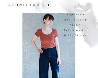 "Cut Duet Sewing Pattern High Waist Pants & Shorts ""Lola"""