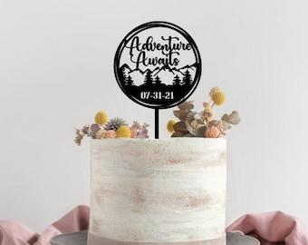 Wedding Cake Topper, Adventure Awaits cake topper,Bridal Shower cake topper, Wedding table decoration,Mountain adventure await cake Topper,