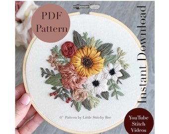 PDF Sunflower Florals Embroidery Pattern, Hoop Art, DIY Embroidery Flowers, Beginner Embroidery Pattern, Flowers, Instant Download, PDF