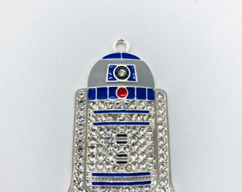 Glass fused R2D2 pendant.