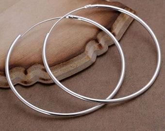 Big Silver Hoop Earrings  Large Hooped Sleeper  925 Sterling Silver 50mm 5cm Ladies UK