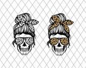Leopard Mom Skull svg, Messy bun skull svg, Mom life SVG, Momlife skull Svg, Patriotic svg, Svg Files For Cricut, silhouette cameo