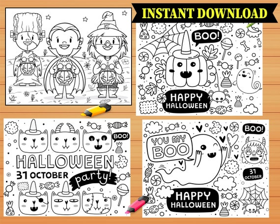 Halloween Coloring Pages INSTANT DOWNLOAD  10 Printable