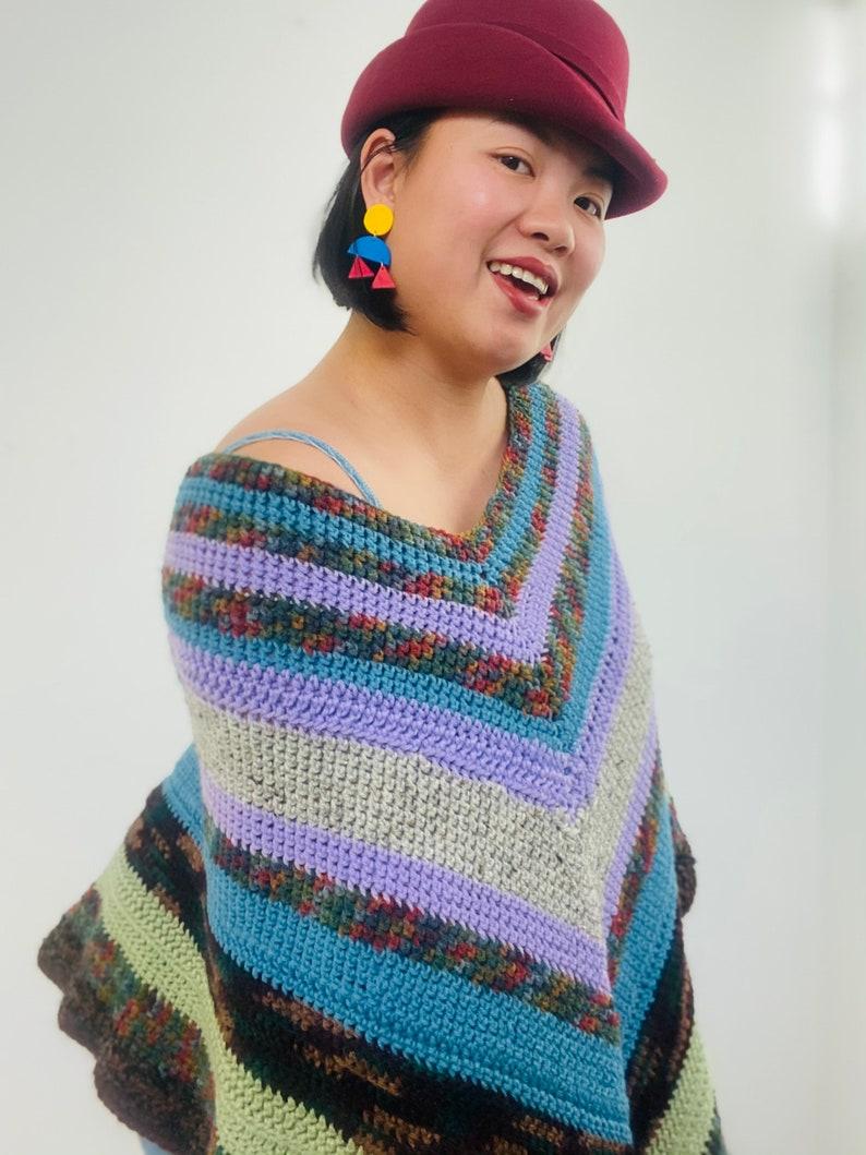 Vintage handmade multi-color crochet poncho