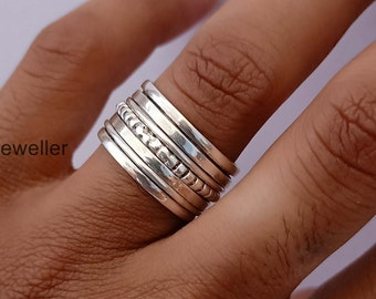 Solid 925 Sterling Silver Spinner Ring Wide Band Meditation Ring Jewelry a44
