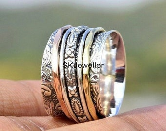 Spinner Ring Solid 925 Sterling Silver Band Meditation Ring All Size Men Women Gift Item Statement Ring GESR01
