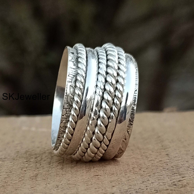Sterling Silver Spinner Ring,Spinner Meditation Ring,Handmade Ring,925 Sterling Silver,Silver Spinner Ring,Spinning Ring,Valentine Gift  S72