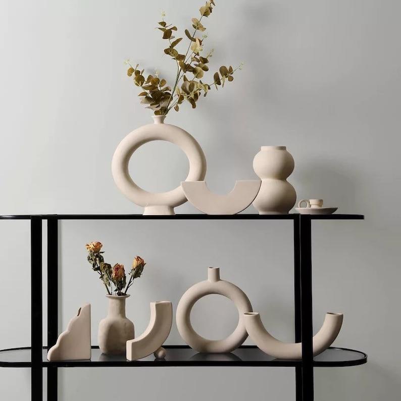 Nordic minimalist ceramic vase ornaments dried flower flower image 0