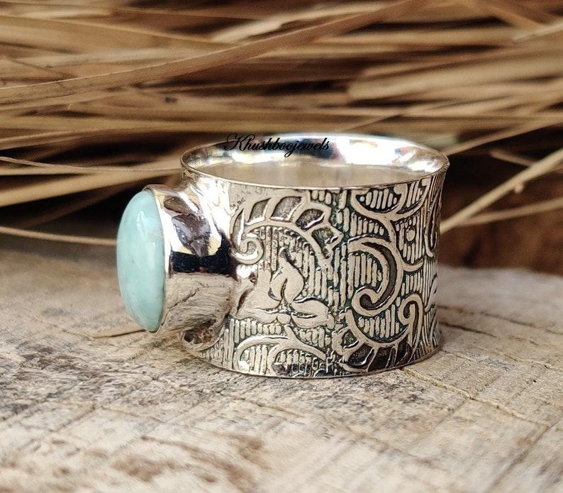 Handmade Ring Larimar Ring Women Ring Silver Band Ring Larimar Jewelry Gemstone Ring Antique Ring Silver Band Ring Gift For Her
