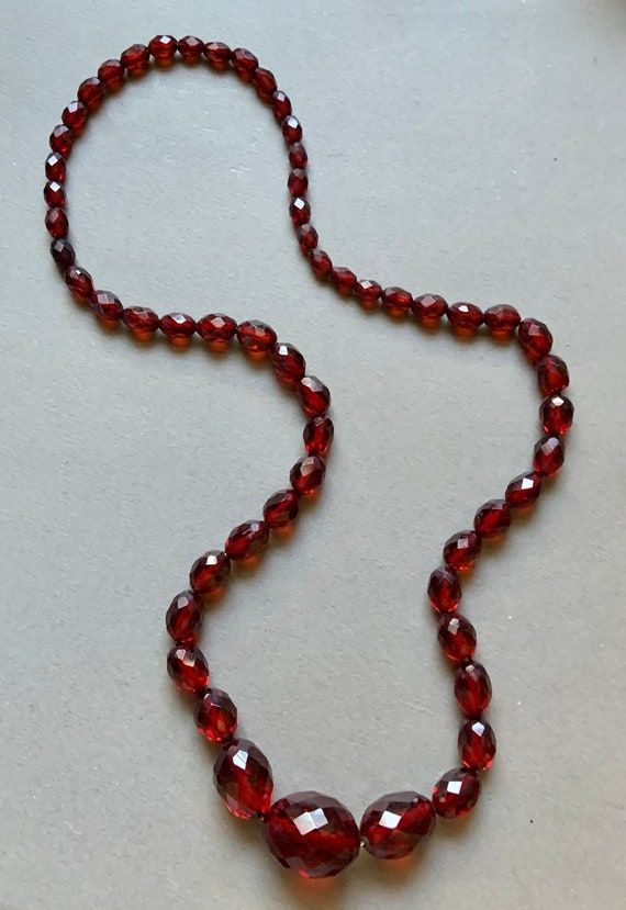 Faux Amber Graduated Beaded Necklace