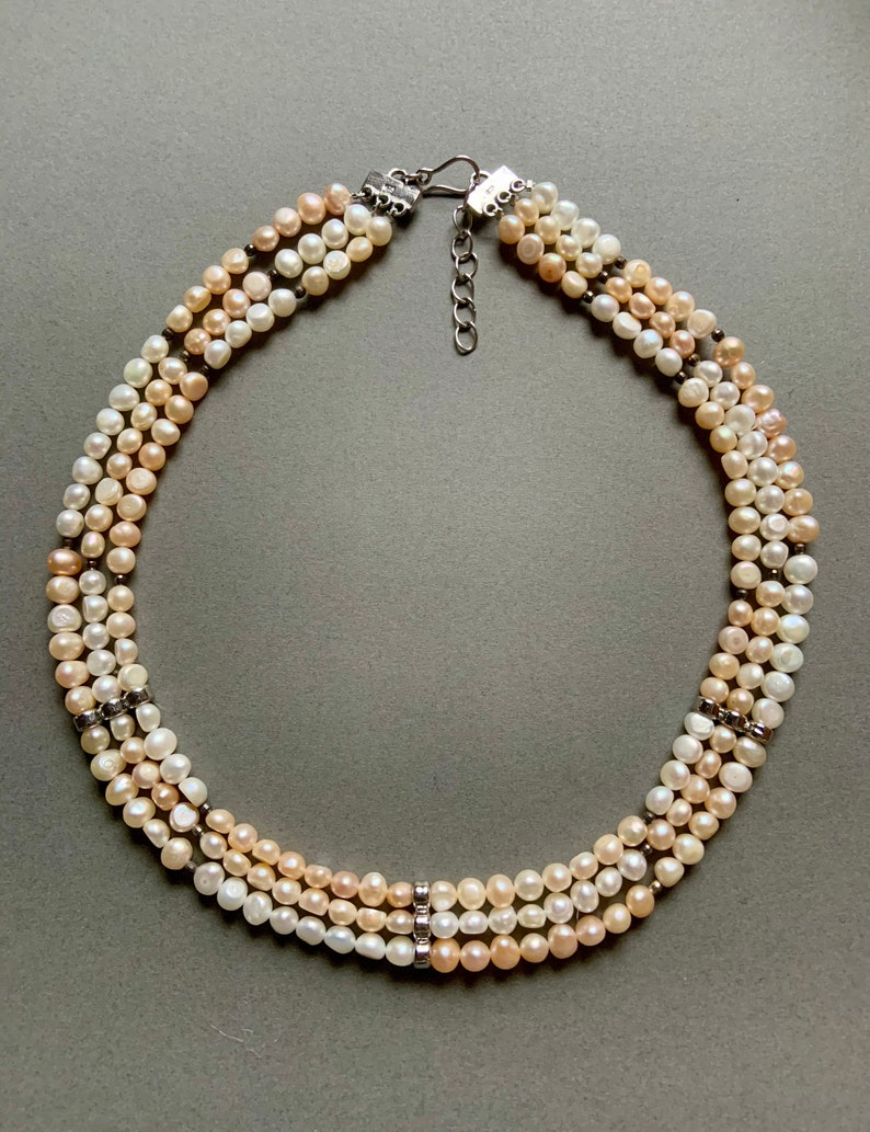 Pink and White Natural Seed Pearl Necklace