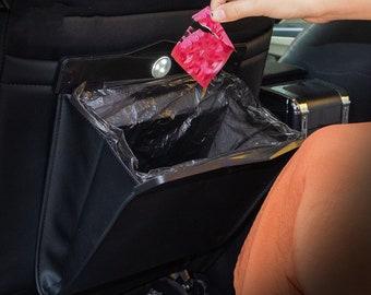 Folded Leather Trash can, Car Trash Can Black, Seat back Storage, Vehicle trash can, Trash can for Car,Trash Bag Hanger,Waterproof Trash Can
