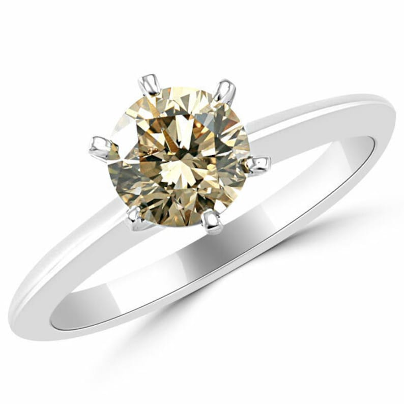 Birthday Gift Simplistic 2 Ct Champagne Color Ring in Sterling Silver Quality-AAA Clarity Certified Anniversary gift