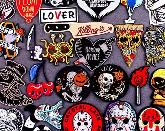 HALLOWEEN Punk Rock Ghost Sew or Iron Patch | Embroidered Horror Skull Skeleton Killer Patches | Thanksgiving Christmas Gifts