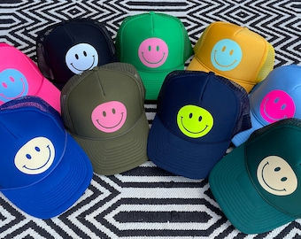 Smiley Face Trucker Hat Happy Hues Collection!!