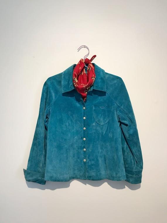 Turquoise Leather Shirt